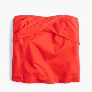 J. Crew Red Strapless Cross-Front Top